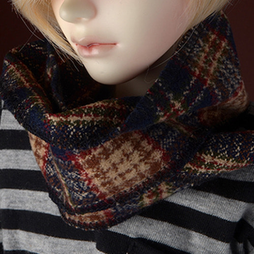 Model & MSD - Check Woollen Muffler (Brown)