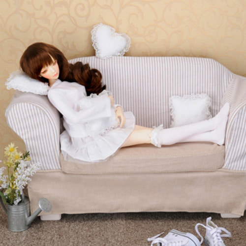 Model doll size - Fabric Double Sofa (D.Beige)