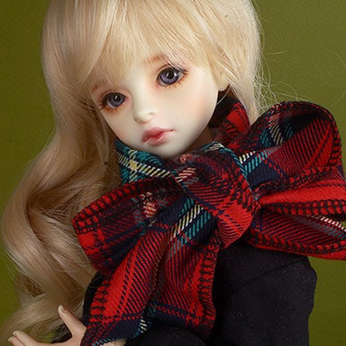 Model & MSD - Check Woollen Muffler (C - Red)