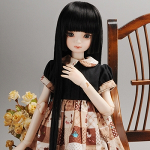 "[7-8""] Hime Long Wig (Black)"
