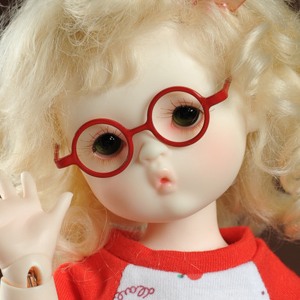 USD - Round Steel Lensless Frames Glasses (Red)