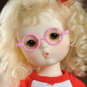 USD - Round Steel Lensless Frames Glasses (Pink)