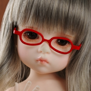 USD - Shape Steel Lensless Frames Glasses (Red)