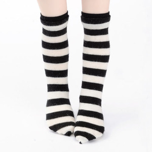 Narsha - Striped Middle Knee Stocking (B&W)