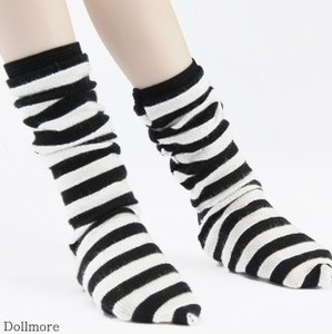 [MSD] Striped Middle Knee Stocking (B&W)