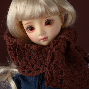 Model & MSD - Drizzly Knit Muffler (Brown)