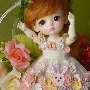 [Bebe Doll] Rabbit Flowers Dress (Coral)
