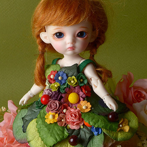 [Bebe Doll.휴쥬베이비] Fairy Flowers Dress Set (Green)