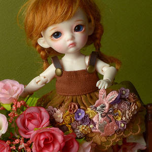 [Bebe Doll] Rabbit Flowers Dress (Brown)