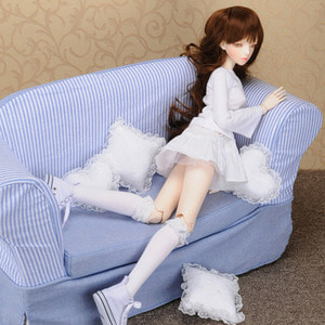 Model doll size - Fabric Double Sofa (Blue)