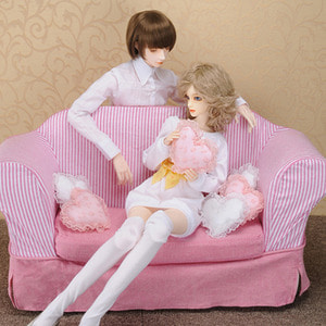 Model doll size - Fabric Double Sofa (Pink)