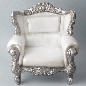 1/4 Scale MSD Size Rococo Chair (Ivory/Silver)
