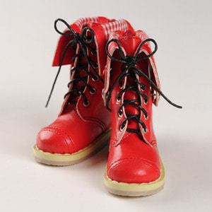 [75mm] MSD - Chara Check Boots (Red)[C1]