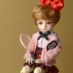 [USD] Dear Doll Size - Petit School Uniform For Girl Set (Pink & Red Check)