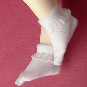 [USD] Dear Doll Size - Ponyo Ankle Socks (White)