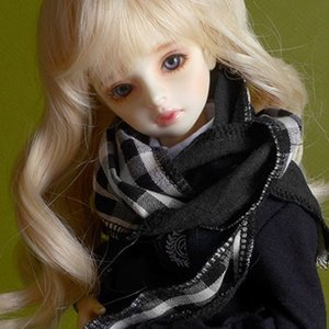 Model & MSD - Check Woollen Muffler (L - Black)