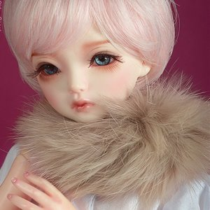 All Size - Rabbit Round Fur Muffler (Beige)