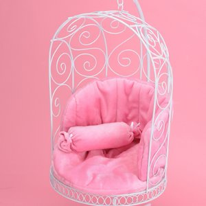 1/4 Scale Bird Cage Style Iron Chair (White/Pink)