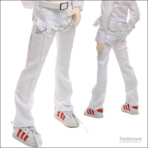 [MSD] Slim line Chain Pants(White)[A1]