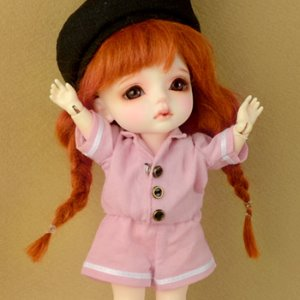[Bebe Doll.휴쥬베이비] Bebe Doll Size - Sailor Overall(Pink)