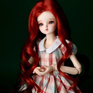 "[7-8""] Sat Two color long Wig (Red)"