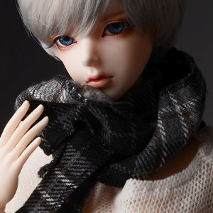 Model & MSD - Chrono Check Woollen Muffler (Gray)