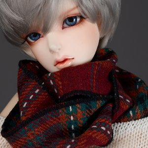 Model & MSD - WWT Check Woollen Muffler (Wine)