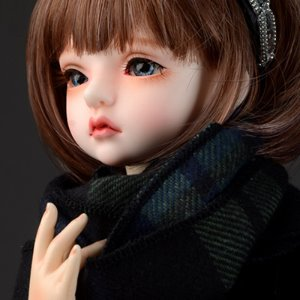Model & MSD - Soft Check Woollen Long Muffler (Blue)