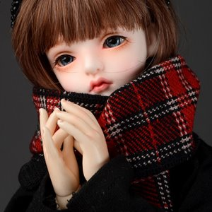 Model & MSD - Hard Check Woollen Muffler (S Wine)