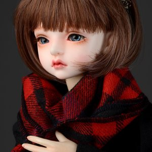 Model & MSD - Soft Check Woollen Long Muffler (Red)