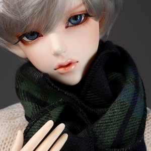 Model & MSD - Soft Check Woollen Long Muffler (Green)