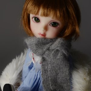 Model & MSD - Nothnoa knit Muffler (L.Gray)