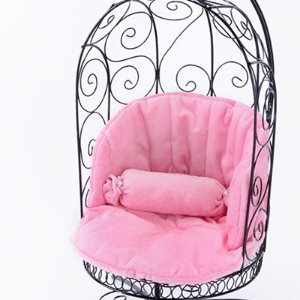 1/4 Scale Bird Cage Style Iron Chair (Black/Pink)