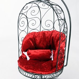 1/4 Scale Bird Cage Style Iron Chair (Black/Red)