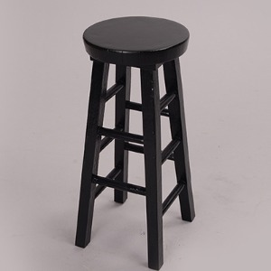 MSD - Poli Stone Round Stool Chair (Black)