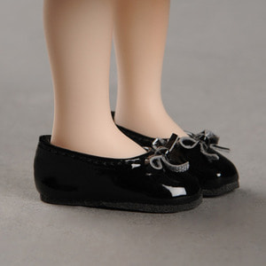 [40mm] Mona Doll - Basic Ribbon C Shoes (Black)